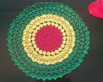 Rasta Reggae Handmade Crochet Tricolour Doily