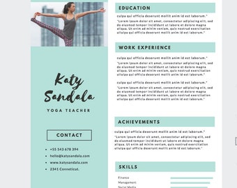 Personalised Modern RESUME DESIGN Infographic Premade CV for Yogateachers or Porfessionals