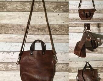 Handbag, shoulder bag, old school, leather, handmade
