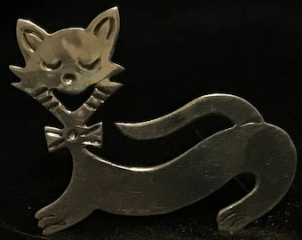 Vintage Taxco Sterling Silver Cat Brooch