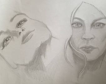 study of women's faces, black and white illustration, hand made, pencil drawing