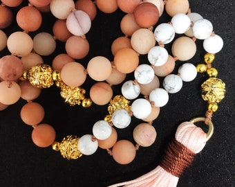 Mala necklace made of agate and turquoise-soothing and balancing