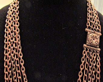 Vintage Antique Copper Plated Chain Necklace