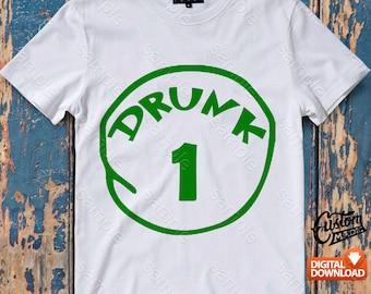 Drunk 1 Iron On Transfer, Drunk 1 Birthday Shirt DIY, Drunk 1 Shirt Designs, Drunk 1 Printable, Drunk 1, Personalize, Digital Files
