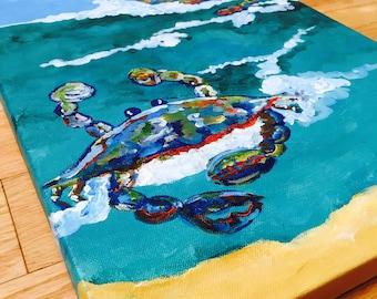 Sunshine beach crabs in the ocean original painting wall art folk artist OOAK