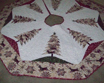 """Large Christmas Tree Skirt 64""""18L - Quilted, Reversible"""