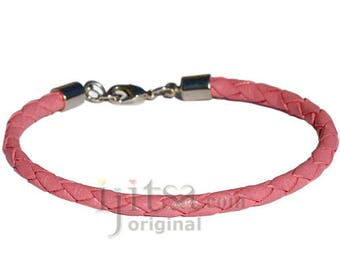 4mm pink braided leather bracelet or anklet metal clasp