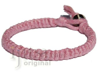 Rose pink hemp Caterpillar bracelet or anklet