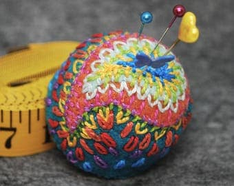 FREE SHIP made to order Exotic Paisley Large Bottlecap Pincushion