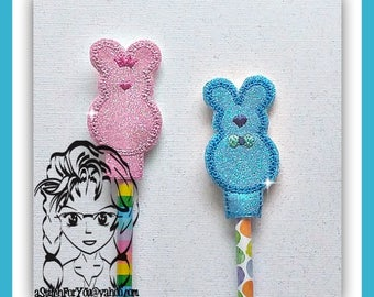 BuNNY Boy GiRL ~ Pencil Topper & WaND ~ In the Hoop ~ Downloadable DiGiTaL Machine Embroidery Design by Carrie