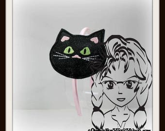 Black CaT Halloween HB Slider Hair Pretty Accessory ~ In The Hoop Headband ~ Downloadable DiGiTaL Machine Embroidery Design by Carrie