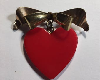 Vintage Gold Fill Bakelite Heart Pin