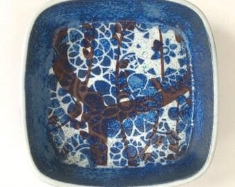 Royal Copenhagen Fajance Baca Blue Floral Pottery Dish Bowl 780/2882 Johanne Gerber Denmark