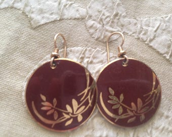Laurel Burch Burgundy Floral Cloisonne Earrings French Earwires Vintage Jewelry 1980s Gold Filled Maroon Wine Gold