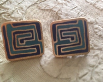 Laurel Burch MYSTERY Square Cloisonne Earrings Post Style RARE Vintage Jewelry 1980s Turquoise & Navy Blue