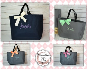 8  Bridesmaid Gift- Personalized Bridemaid Tote - Wedding Party Gift - Maid of Honor-Personalized Bridesmaid Gift Tote Bag