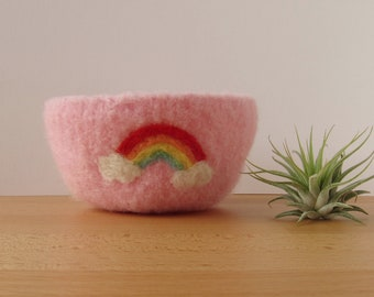 Rainbow in the Clouds Felted Woolen Bowl