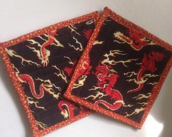 Simple Pot Holders--Fiery Dragons