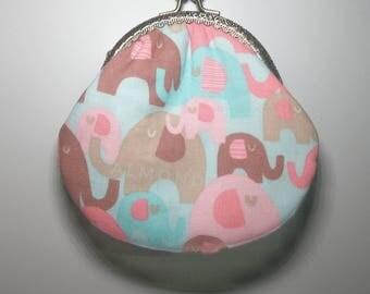 Elephant, snap clasp purse, handmade kisslock snap metal frame pouch id171017,  portefeuille, portemonnaie,  clasp change pouch