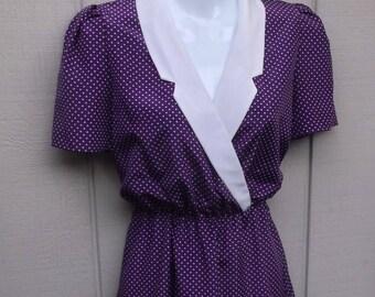 Vintage 70s Purple & White Polka Dot SECRETARY DRESS // Ladies sz Sml