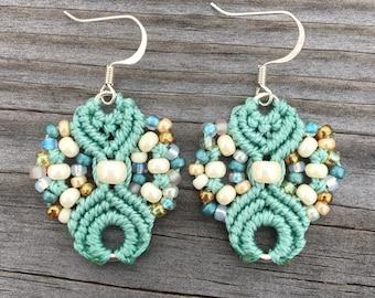 Micro-Macrame Earrings - Light Turquoise and Cream