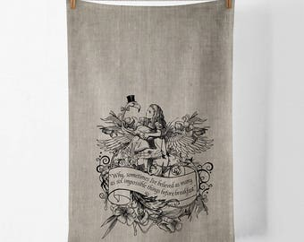 Alice Wonderland Flamingo 100% linen screen printed tea towel
