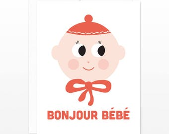 Cute Bonjour Bebe New Baby Card, Baby Shower Card, New Parents Card - French Bonjour Bebe - New Baby Boy Girl Card, Retro New Baby Card