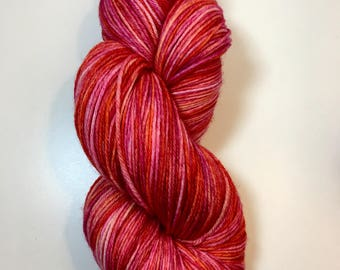 Flamingo Hand Dyed Sock Yarn, Hand Dyed Sock Yarn, Flamingo Sock Yarn