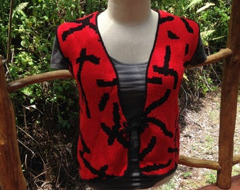Red vest with bird on back panel, Medium/Large cotton sleeveless sweater, gift for women, gift for her, sleeveless knit top with bird OOAK