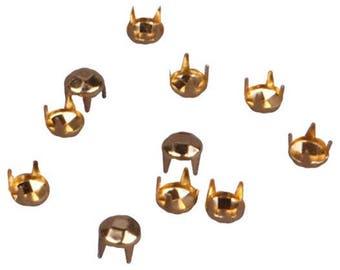 Gold Round Pyramid Vintage Studs - 5mm (MS5GORPD)