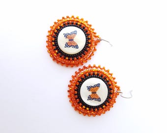 Native American Beaded Butterfly Earrings