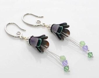 Purple Green Flower Dangle Earrings Spring Blooms - Flower Jewelry - Flower Earrings -Gift for Her -Earring Gift -Floral Earrings - Handmade