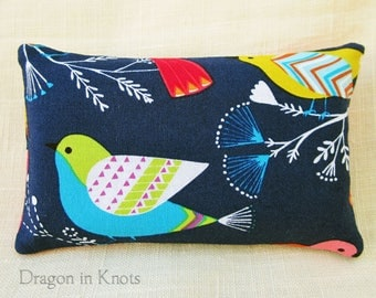 Little Birds Pocket Tissue Holder - Navy Blue Travel-sized Facial Tissue Case, Cotton Fabric Pouch, geometric sparrows