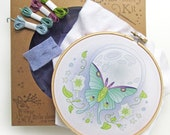 Luna Moth DIY Hand Embroidery Kit Sampler in the Hoop art embroidery pattern designs