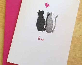 Black Cats Love Card -  Black Cats Card - Cats Love Card - Anniversary Card - Hand Printed Greeting Card