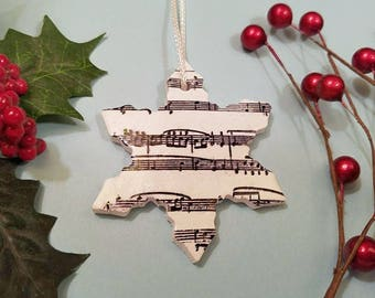 Christmas Ornament, Christmas Music Ornament, Snowflake Ornament, Winter Decoration, Musician Gift, Black and White, Handmade Polymer Clay