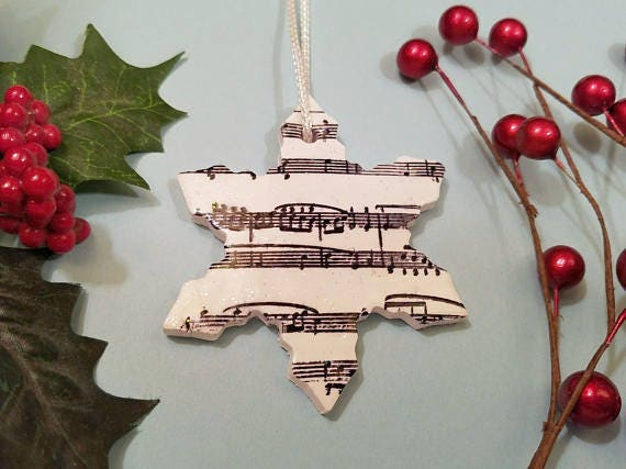 Christmas Ornament, Music Ornament, Snowflake Ornament, Winter Ornament, Choir Director Gift, Musician Gift, Black and White, Polymer Clay