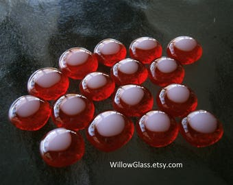 Fused Glass Cabochons 16 in Red and Pink, Glass Cabochons, Glass Cabs, Willow Glass