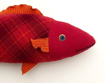 Red fish wool fish pillow doll