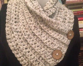 Oatmeal Tweed Cowl, Chunky Convertible Neck Warmer 3 Buttons