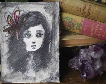 Mariana - Danita original charcoal graphite pencil drawing. Mixed media little girl. Painting with emotional eyes, a red flower in her hair.