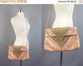 40% off sale Vtg 80s salmon color leather studds shoulder bag purse