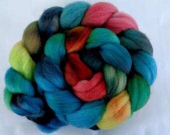 Merino wool roving, hand dyed merino roving, felting wool, spinning fiber, merino roving, combed top, teal,green,21 micron,3.5oz,Lot.19