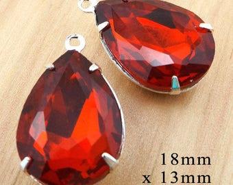 Red Glass Beads - 18x13 Teardrop - Red Earrings or Pendants - 18mm x 13mm Rhinestones - Jewelry Supply - Set Stones - One Pair