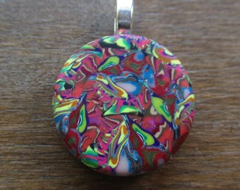Pink Confetti Polymer Clay Pendant