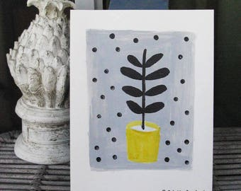 Potted plant, original painting, acrylic on paper, graphic art, minimalism