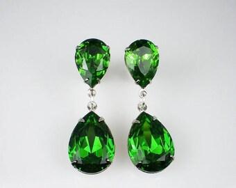 SUMMER SALE Rhinestone Earrings Fern Green Swarovski Dangle Earrings Wedding Jewelry Bridesmaid Jewelry Holiday Earrings