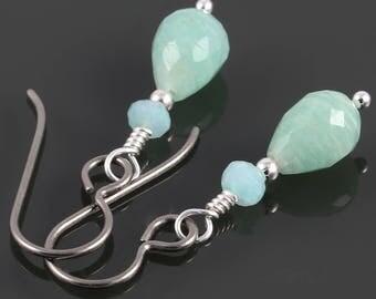 Amazonite Earrings. Titanium Ear Wires. Genuine Gemstone. f17e031