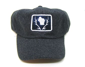 Clearance - Sale - Gift - Gracie Designs Hat - Wisconsin Antler Patch on Gray Felt Baseball Cap