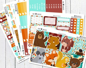 Fall Planner Sticker Kit, Woodland Friends Weekly Stickers, for use in Erin Condren Life Planner™, Happy Planner, Travelers Notebook